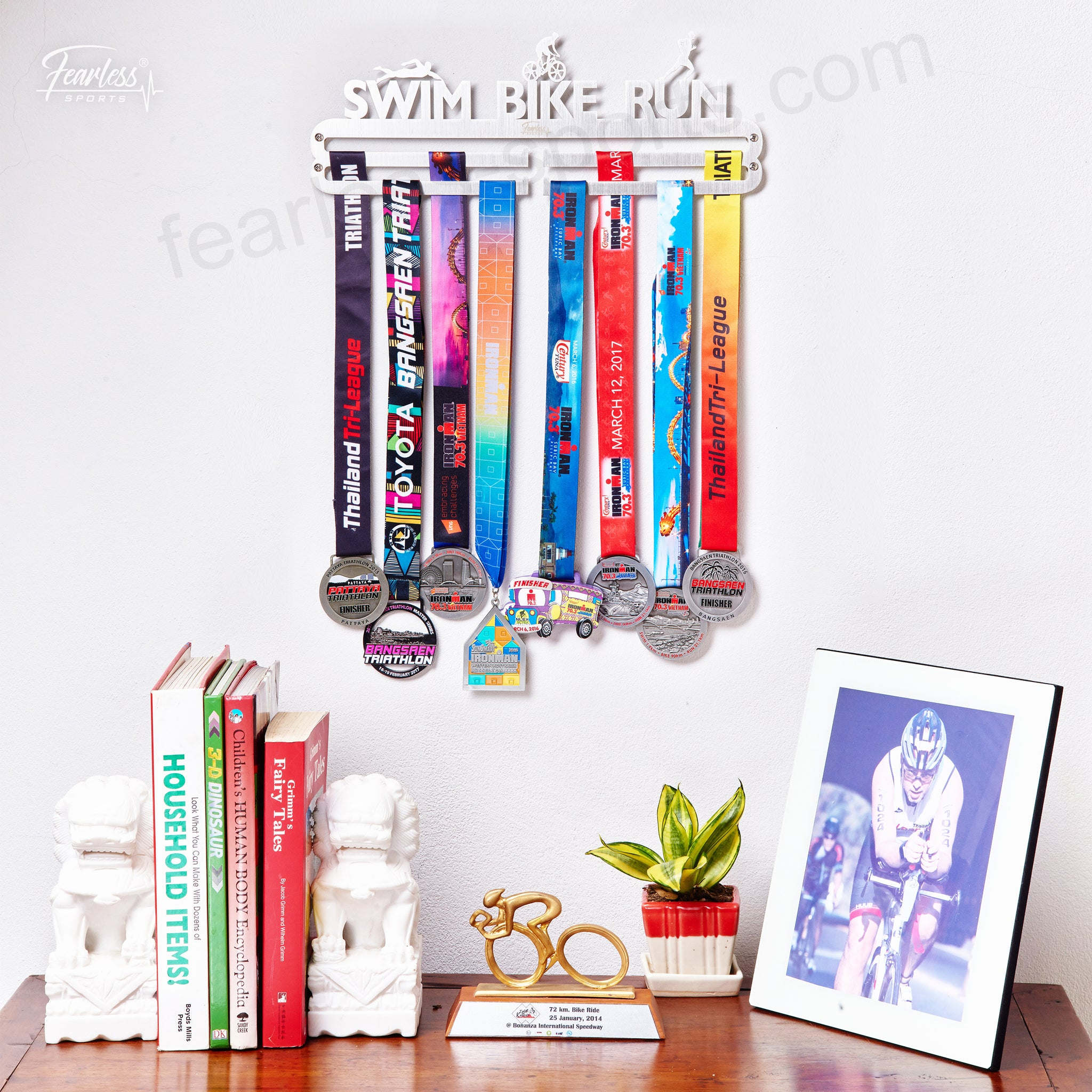 running motivation medals snowflakes and on medal shelf