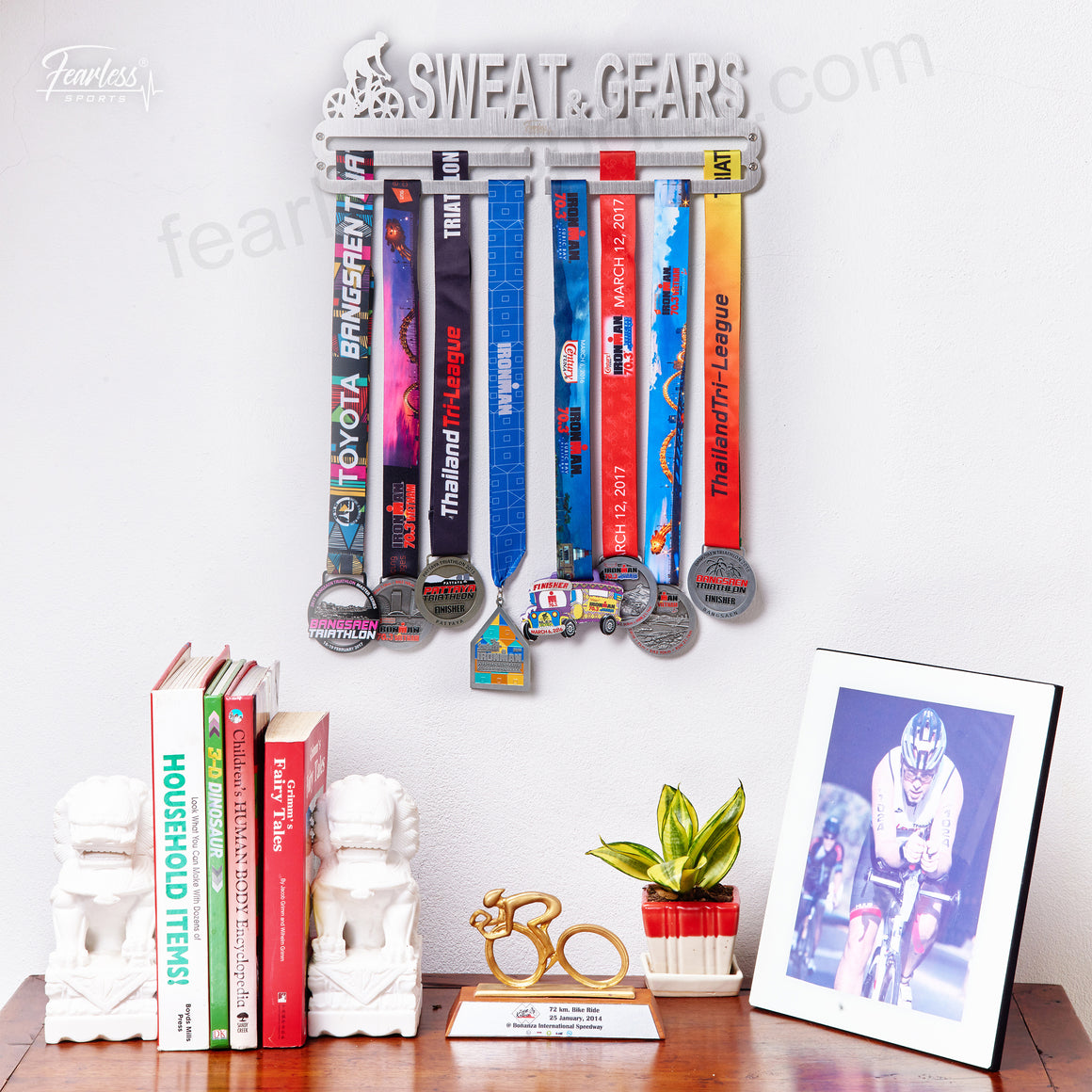 Cycling Sweat and Gears Stainless Steel Medal Display Hanger Medal Organizer ITM./ART.5181 - Fearless Sports