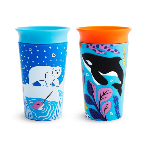 2PK Ποτηράκια εκπαιδευτικά Miracle 360˚ Sippy Cup Polar/Orca