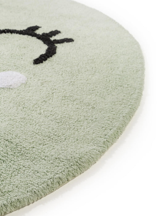 Inka Smiling Face Kids Rug Light Green