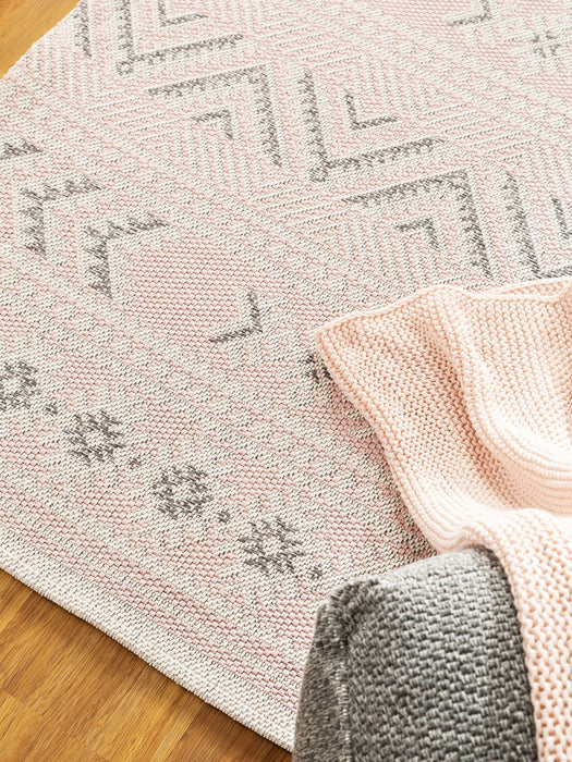 Cotton Rug Geometric Cooper Rose