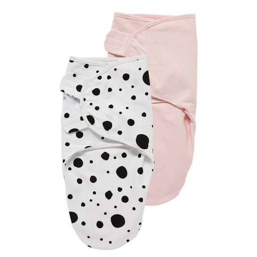 Meyco Swaddle Σετ 2 Τεμαχίων Κουβερτάκια White Dots/Light Pink