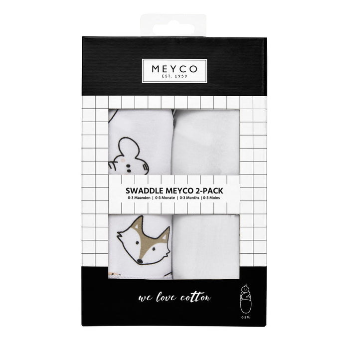 Meyco Swaddle Σετ 2 Τεμαχίων Κουβερτάκια Animals/White
