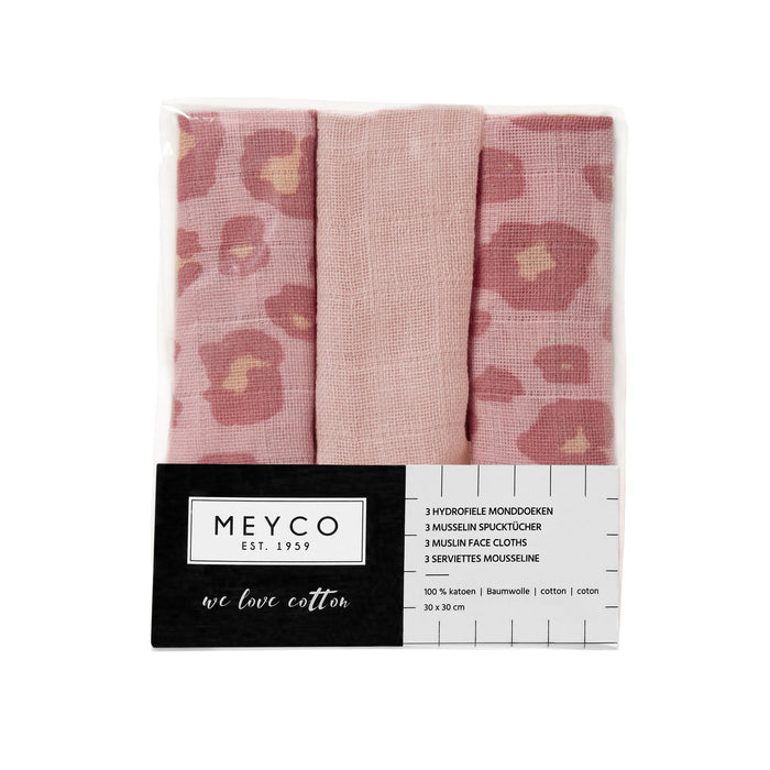 Meyco Face Cloths 3τμχ 30x30 cm Panther Pink-Light Pink