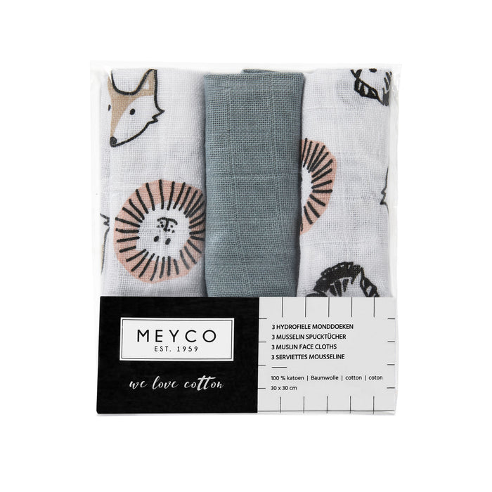Meyco Face Clothes 3τμχ 30x30 cm Animal/Uni/Stone Green
