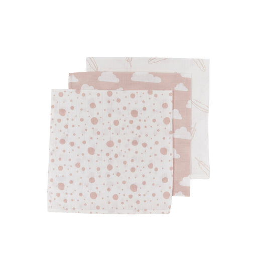 Meyco Face Cloths 3τμχ 30x30 cm Feathers/Clouds/Dots Pink