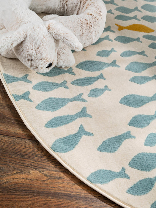 Juno Fish Rug Beige/Blue