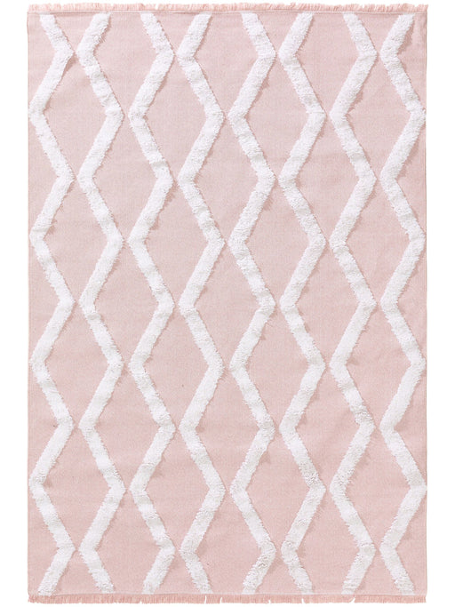 Cotton Rug Oslo Rose Geometric Lines