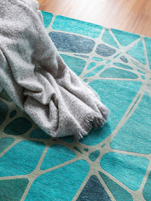 Flat Weave Rug Stay Blue