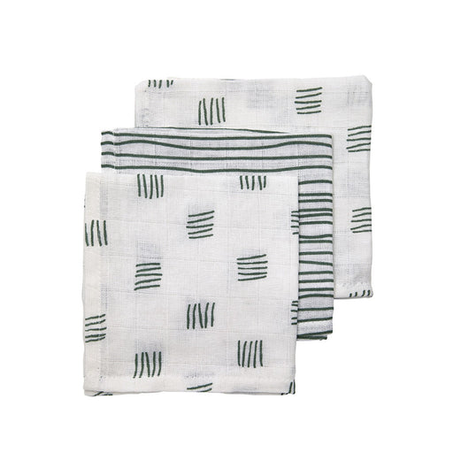 Meyco Face Cloths 3τμχ 30x30 cm Block Stripe Forest Green