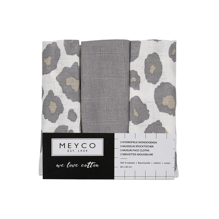 Meyco Face Cloths 3τμχ 30x30 cm Panther Neutral/Gray