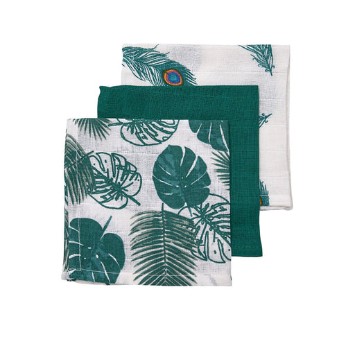 Meyco Face Cloths 3τμχ 30x30 cm Tropical Leaves/Peacock/Green