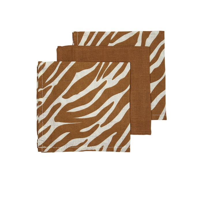 Meyco Face Cloths 3τμχ 30x30 cm Zebra Camel