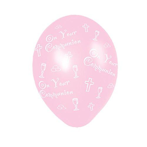 Amscan 27.5 cm Communion 25 Latex Balloons All Over Print, Pink