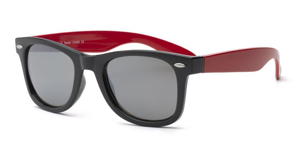 Real Kids Shades Swag Polycarbonates with Mirror Sunglasses (Lens 10 Plus, Black Wayfarer Frame/Red Temples/Silver)