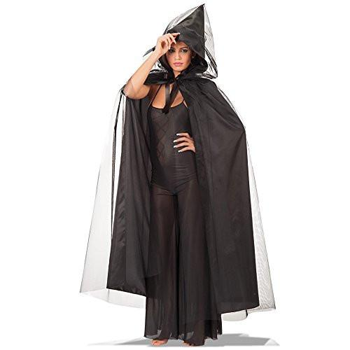 Carnival Toys 29035 - Hooded Cape Taffeta and Tulle, Black, 140 cm