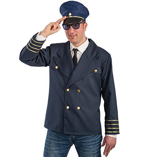 Carnival Toys 83283 Flight Captain Jacket and Hat Fancy Dress Costume - Medium/Large