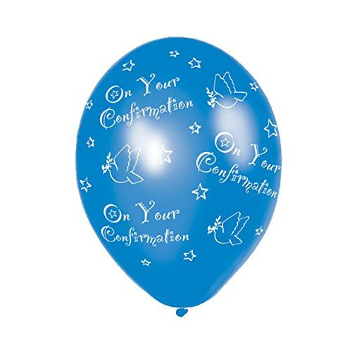Amscan 27.5 cm Confirmation 25 Latex Balloons All Over Print, Blue