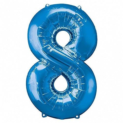 Amscan 22/ 55 x 35/ 88 cm Number 8 Super Shape Foil Balloon, Blue