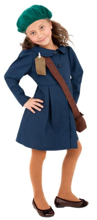 Smiffy's World War II Evacuee Girl Costume, Dress, Hat and Bag, Ages 10-12, Colour: Blue, 38651
