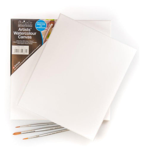 Frisk 36 x 24-inch Watercolour Stretched Canvas, Pack of 2, White