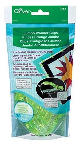 CLOVER 24-Piece Jumbo Wonder Clips, Neon Green