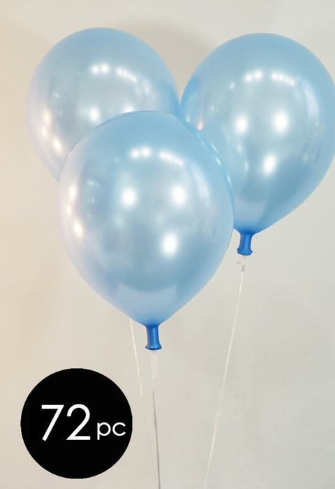"Creative Balloons 12"" Latex Balloons - Pack of 72 Pieces - Pearlized Light Blue"