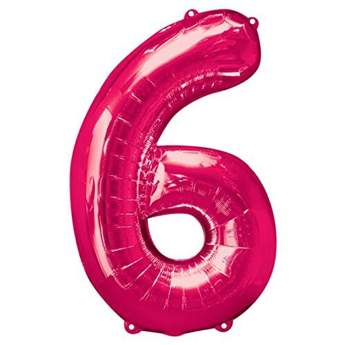 Amscan 23/ 58 x 35/ 88 cm Number 6 Super Shape Foil Balloon, Pink
