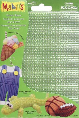 Makin's USA Plastic Clay Texture Sheets 7-Inch x 5.5-Inch-Set B (Screen, Stripe, Check and Dot)