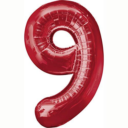 Amscan 23/ 58 x 35/ 88 cm Number 9 Super Shape Foil Balloon, Red