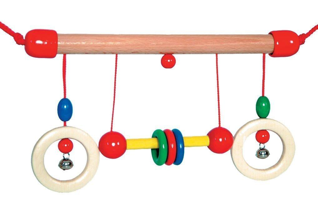Hess Wooden Baby Toy Trapeze Dumbbell Clip On