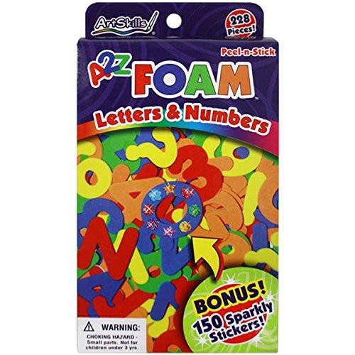 Artskills Peel-N-Stick Foam Letters and Numbers 228/Pkg-W/150 Sparkly Stickers