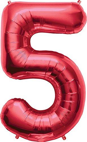 Amscan 21/ 53 x 34/ 86 cm Number 5 Super Shape Foil Balloon, Red