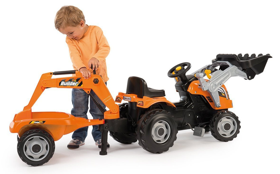 Smoby 710110 Builder Max Tractor Toy With Trailer