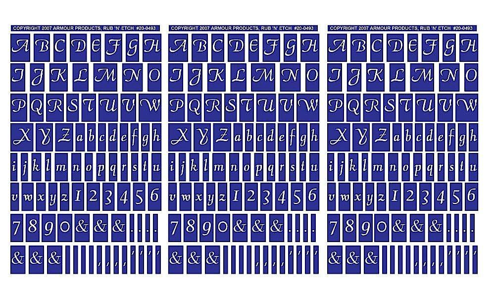 Armour Products Plastic Rub 'N' Etch Designer Stencils 5-inch x 8-inch 3 kg Script Letters and Numbers