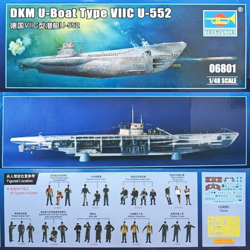 Trumpeter 06801 German WWII DKM U-Boat Type VIIC U-552 Plastic Model Kit 1:48 Scale