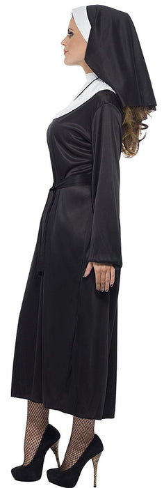 Smiffy's Adult Women's Nun Costume, Dress, Belt and Headdress, Saint and Sinners, Serious Fun, Size: 16-18, 20423
