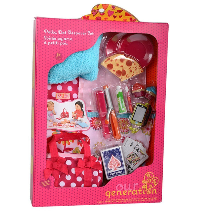 Our Generation Polka Dot Sleepover Accessory Set