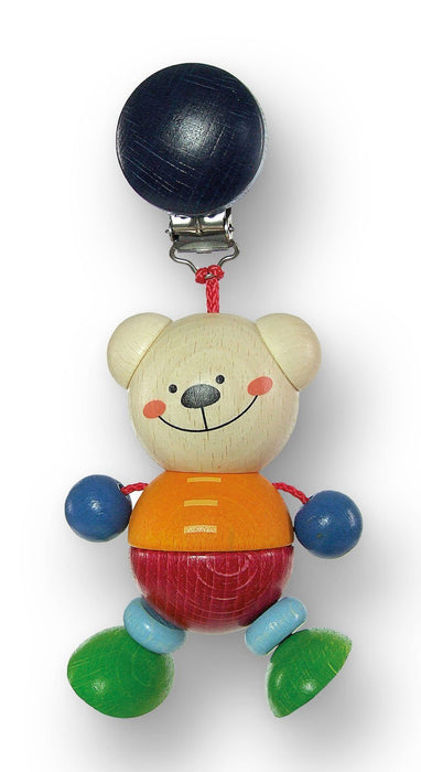 Hess Wooden Baby Toy Figurine Chain Bear Henry Clip On