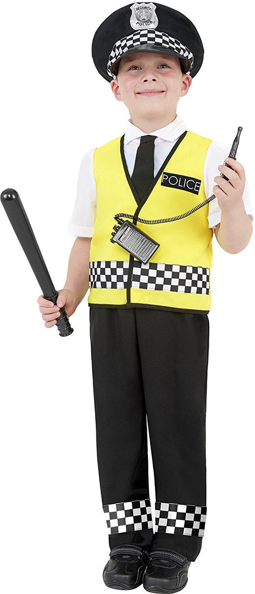 Smiffy's Police Boy Costume, Top, Trousers, Hat and Radio Set, Ages 4-6, Colour: Mixed, 38861