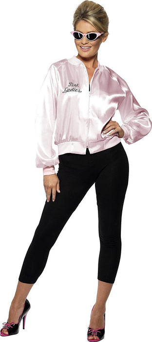 Smiffy's Women's Grease Pink Ladies Jacket, Size: 16-18, Colour: Pink, 28385