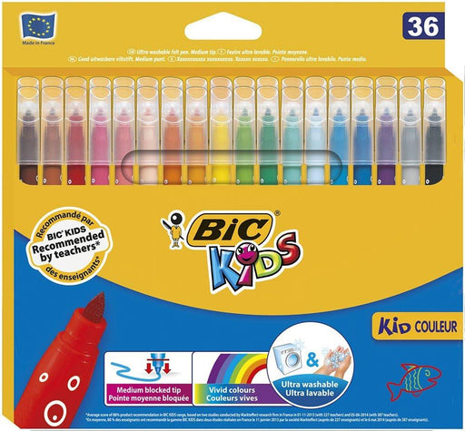 Bic Kids Kid Couleur Pack of 36 Colouring Pens Assorted Colours Bubbles