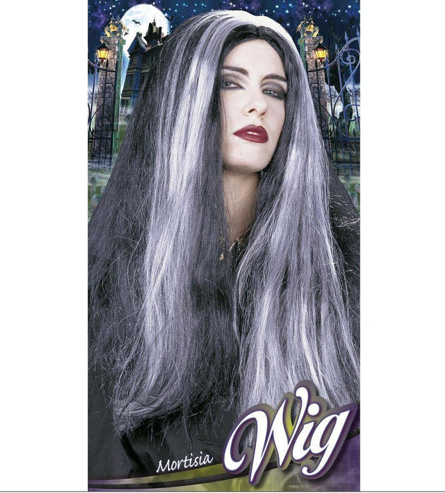 Morticia Blk/White Wig for Hair Accessory Fancy Dress