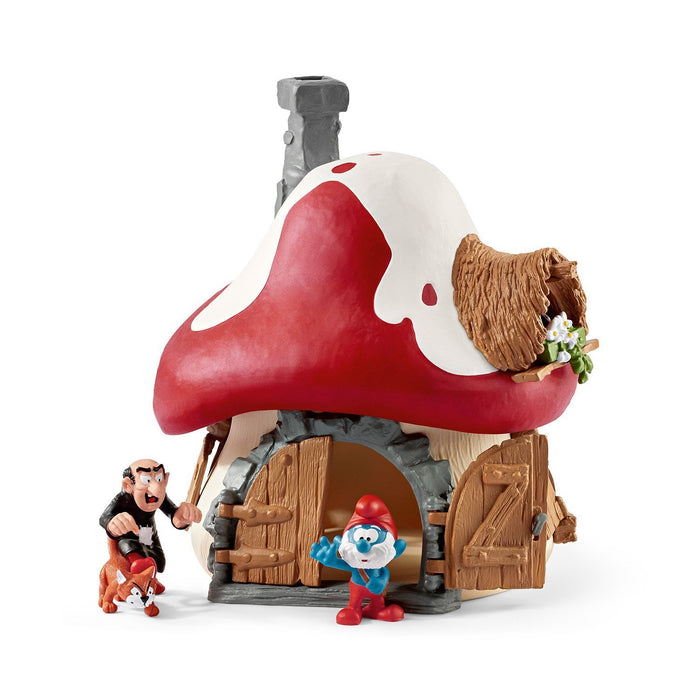 "The Smurfs 20803 Schleich Smurf House with Papa Smurf and Gargamel and Azrael"" Figure"