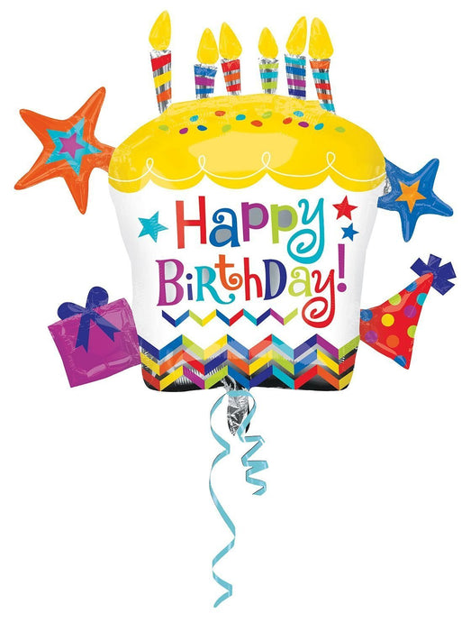 Amscan 28/ 71 x 26/ 66 cm Happy Birthday Cupcake Star Super Shape Foil Balloons