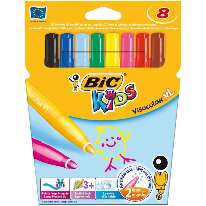 BIC Kids Visacolor XL Colouring Pens, Pack of 8