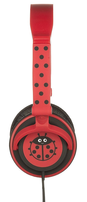 My Doodles by KitSound Fun Novelty Child Friendly Character 85Db Volume Limiting On-Ear Headphones Compatible with Smartphones, Tablets and MP3 Devices - Ladybird