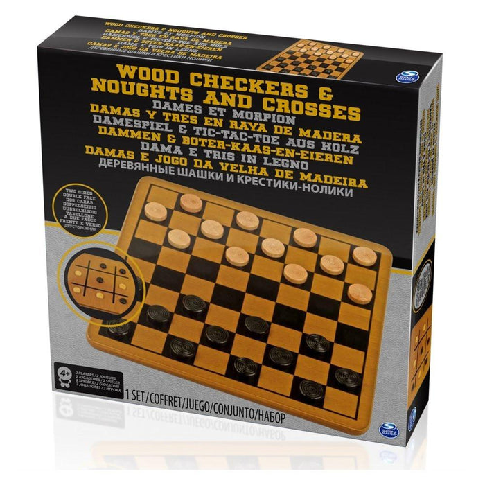 Spinmaster 6033145 Wooden Checkers and Noughts and Crosses