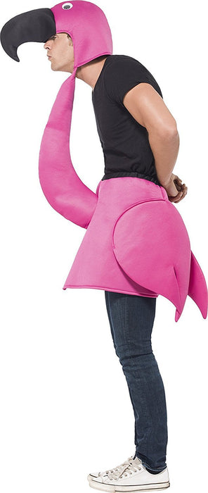 Smiffy's Adult Unisex Flamingo Costume, Foam Piece with Neck and Hood, Party Animals, Serious Fun, One Size, 26392