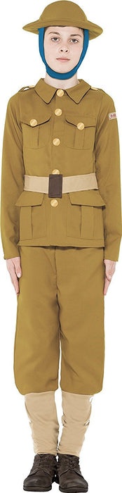 Smiffy's Chidren's WWI Boy Costume, Top, Trousers & Hat, Horrible Histories, Ages 10-12, Colour: Green, 27037
